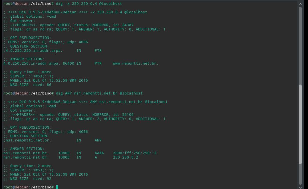 Servidor DNS Recursivo, Autoritativo e Reverso com Bind9 (IPv4+IPv6